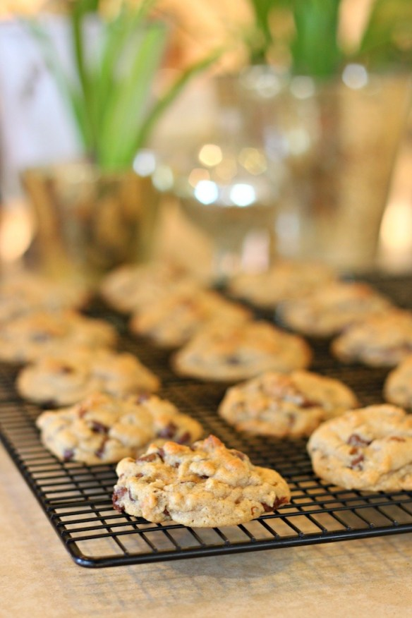 Chocolate Chip Oatmeal Cookies with Orange Glaze