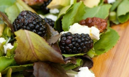 Greens with Blackberries and Passionfruit Vinaigrette