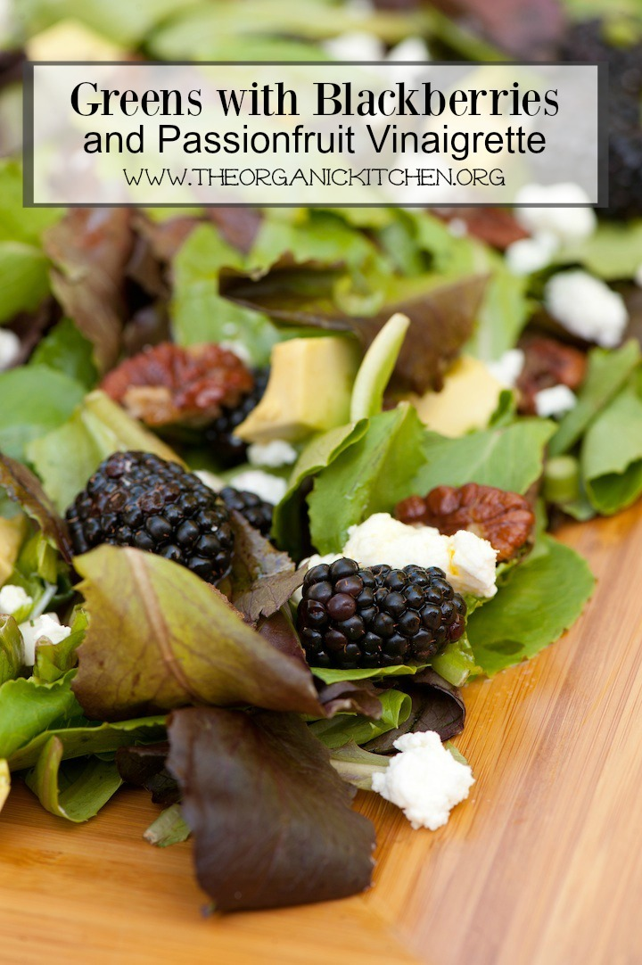 Greens with Blackberries and Passionfruit Vinaigrette Recipe shown on a platter