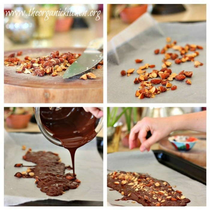 How to Make Chocolate Bark: a collage depicting how to chop nuts, pour melted chocolate onto parchment, and sprinkle with sea salt