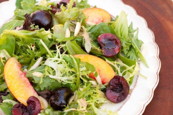 Greens with Nectarines and Cherries