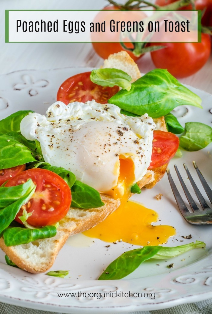 Poached Eggs and Veggies on Toast on white plate with silver fork
