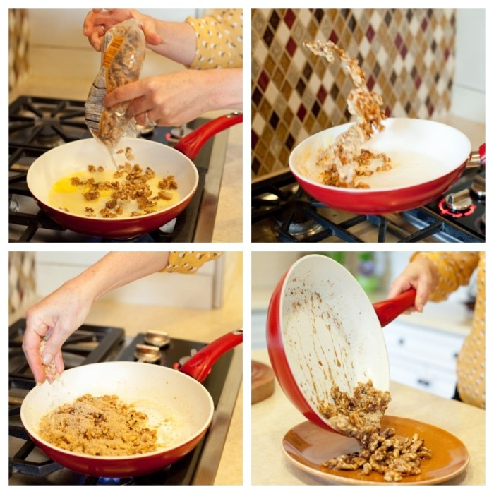 A woman's hands demonstrating how to caramelize nuts in a pan on the cooktop