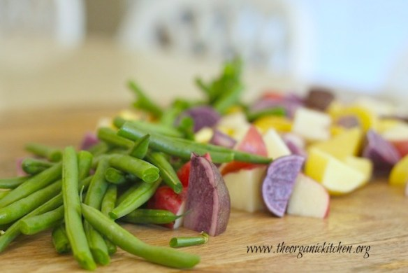 Tri-colored Potato Salad with Green Beans and Rustic Pesto