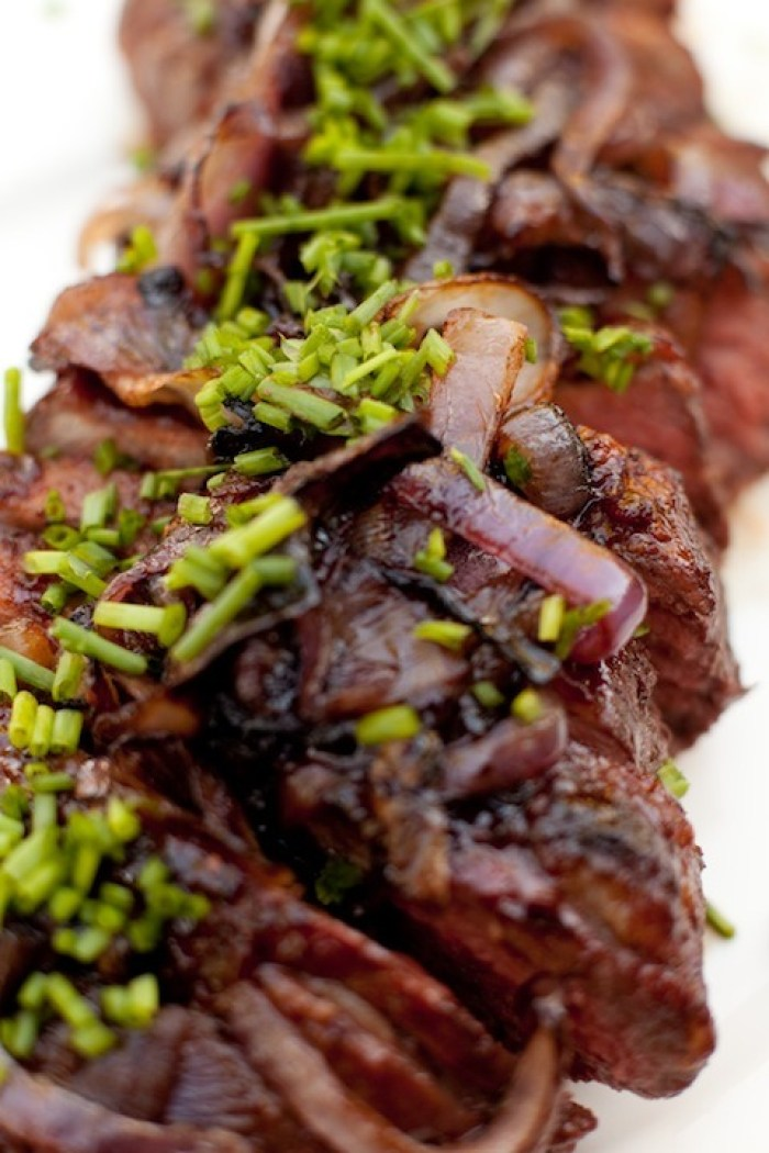 The Organic Kitchen Tri-Tip with Pomegranate BBQ sauce and Caramelized Onions topped with chopped chives
