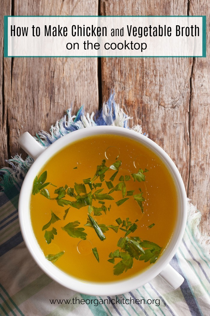 A bowl of chicken broth on a wood table covered with a blue and white cloth: How to make Chicken, Beef Or Vegetable Broth