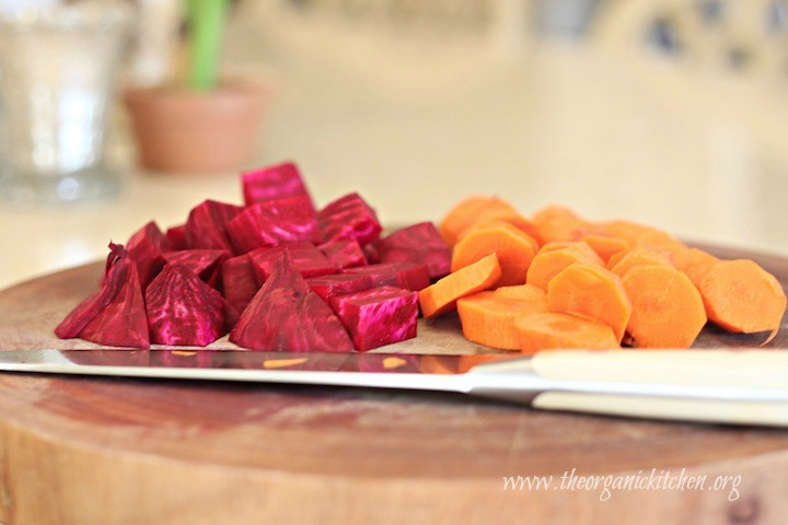 Chopped beets and carrots prepped for roasting. Roasted Beet and Carrot Salad with Lemon White Balsamic Vinaigrette