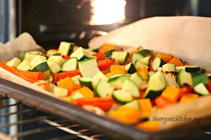 Vegetables on cookie sheet going into the oven. Roasted Vegetable Soup!