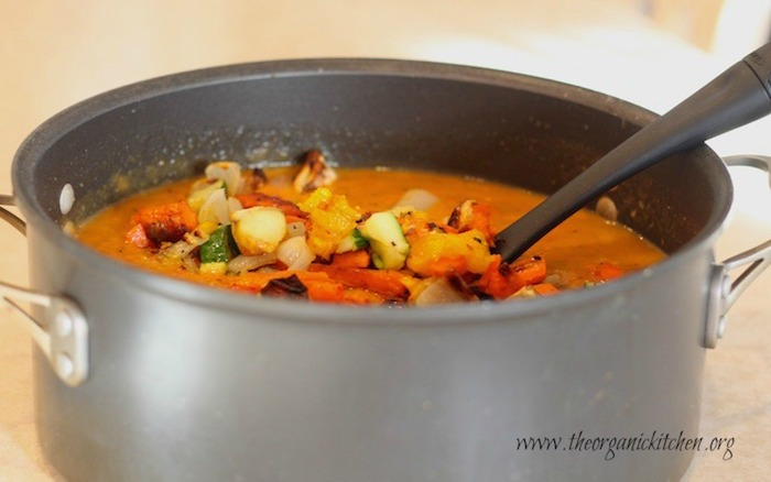 Roasted Vegetable Soup in large pot