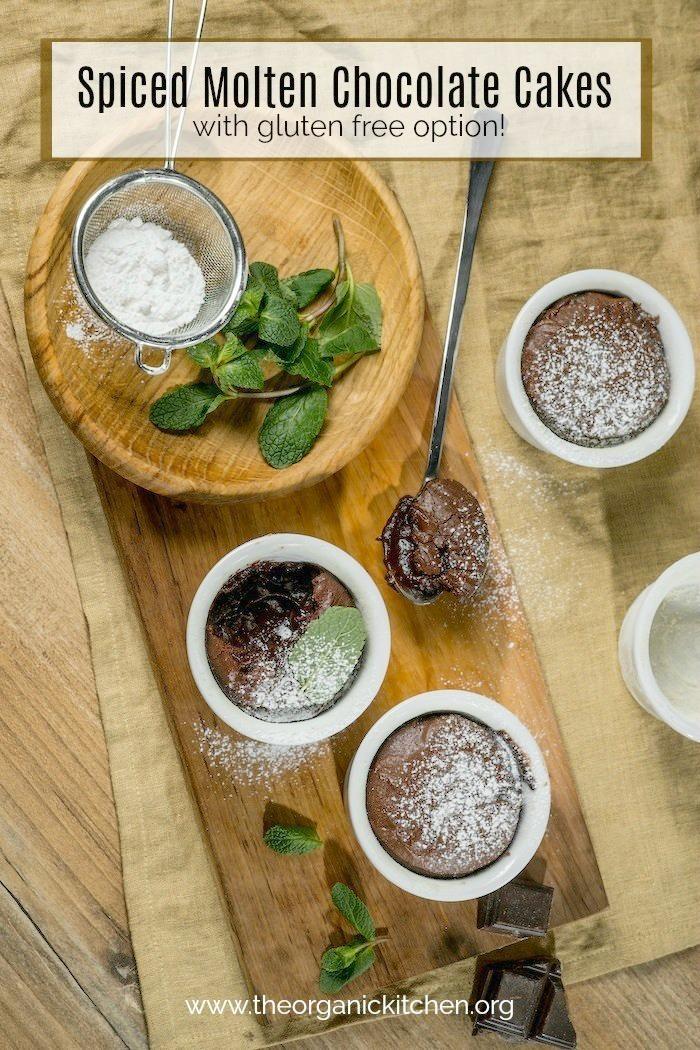 Molten Spiced Chocolate Pomegranate Cakes #lavaflowcake #chocolatecake #glutenfree #valentinesdessert