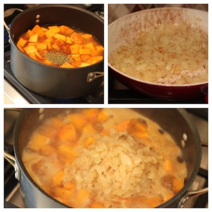 Three photos depicting how to cook Creamy Butternut Squash Soup