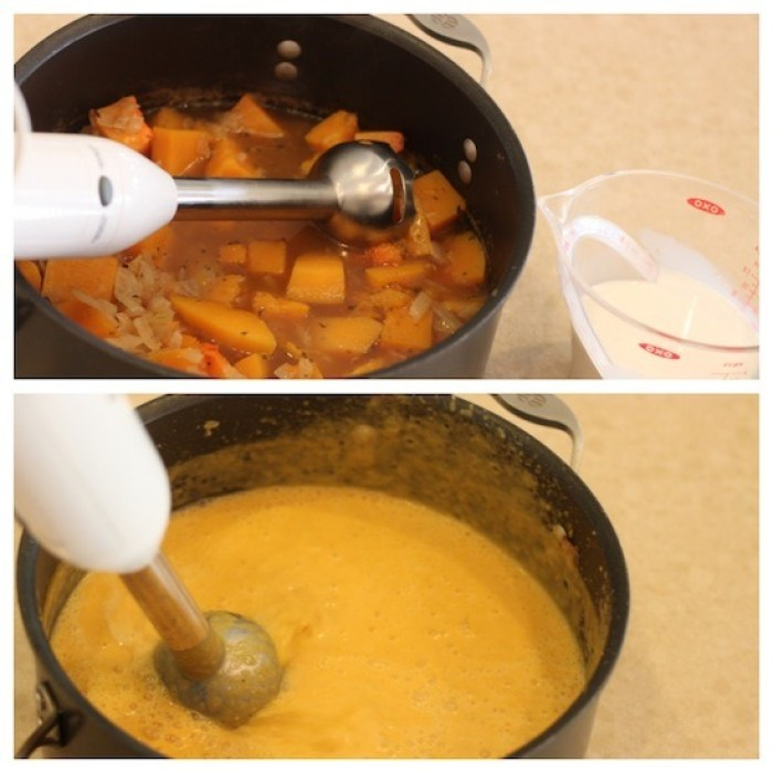 Creamy Butternut Squash Soup in a stock pot being blended with an immersion blender