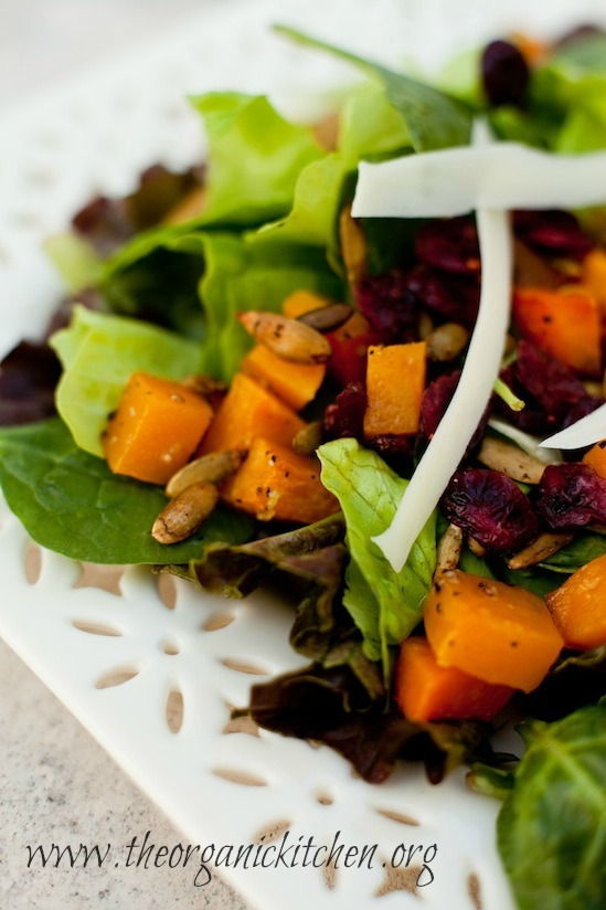Fall Greens with Roasted Butternut Squash and Spicy Pepitas #butternutsquashsalad #fallsalad #maplevinaigrette #spicypepitas