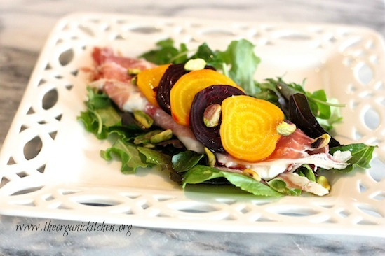 Greens with Slow Roasted Beets, Prosciutto and Burrata Cheese with a Sweet Honey Lemon Vinaigrette
