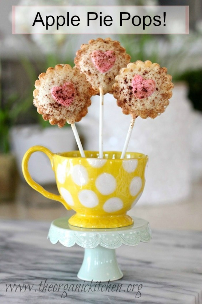 Valentine's Day Apple Pie Pops in a yellow cup