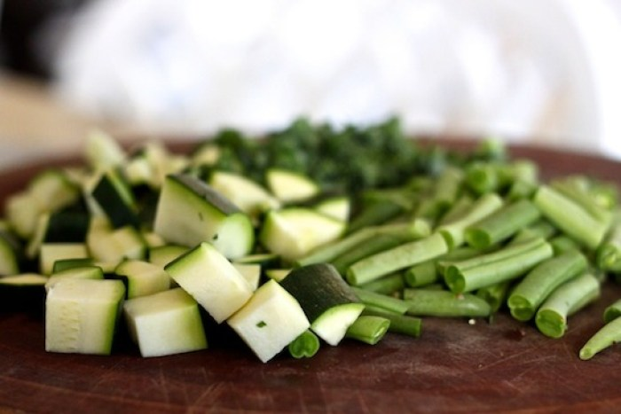 Chopped zucchini and green beans for Gluten Free Minestrone Soup