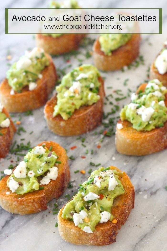 Avocado and Goat Cheese Toastettes on marble surface