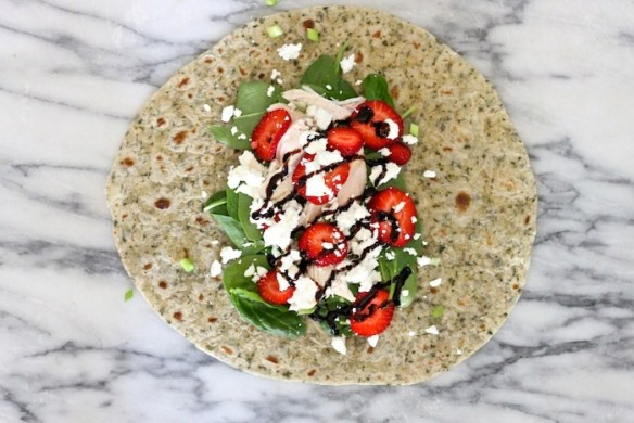 Spinach and Strawberry Salad Wrap