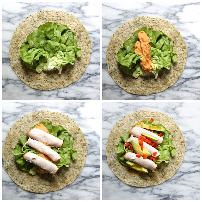 A collage demonstrating how to make the Turkey Hummus Wrap~ Five Minute Lunch!