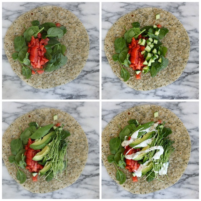 A collage depicting the steps taken to make a Veggie Wrap~ Five Minute Lunch