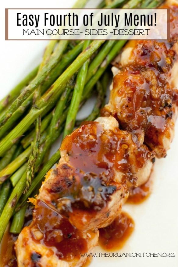 Easy July 4th BBQ Menu~ Main Dish, Sides and Dessert! #BBQmenu #4thofjuly #grilling #BBQchicken #couscous