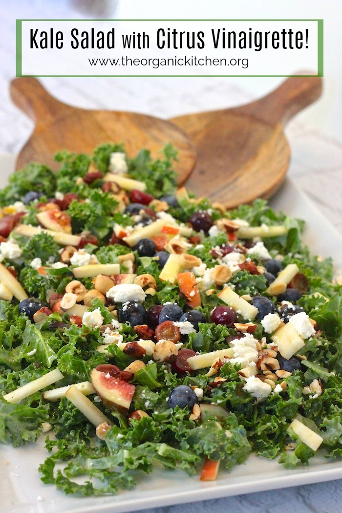 Kale Salad with Citrus Vinaigrette #kalesalad #citrusvinaigrette #wintersalad