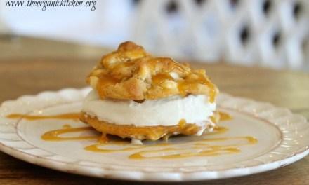 White Chocolate Macadamia Nut Ice Cream Cookie Sandwiches with Salted Caramel Sauce