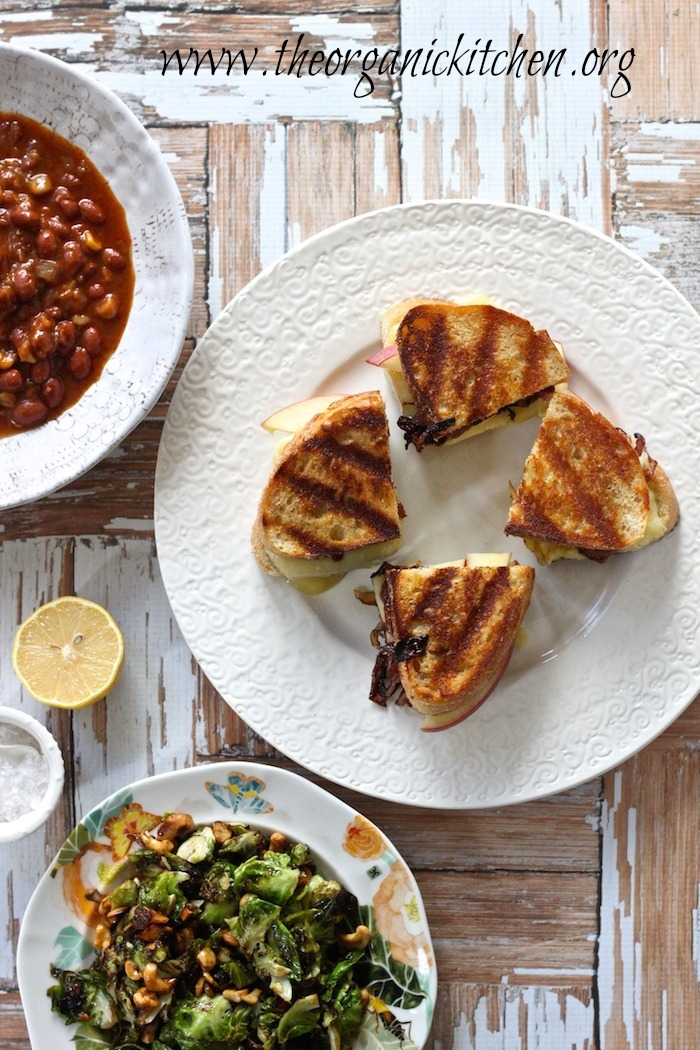 Grilled Cheese with Apples and Caramelized Onions, Crispy Brussels Sprout Leaves