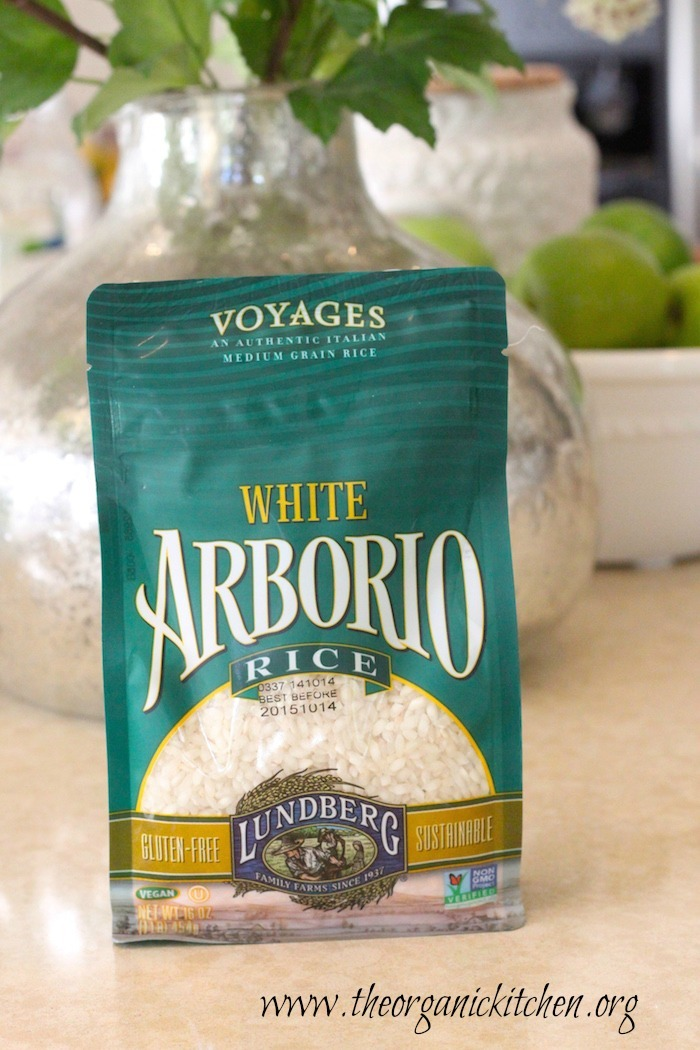 A bag of Arborio rice to be used in Roasted Butternut Squash Risotto with Candied Pecans