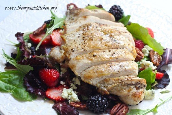 Grilled Chicken Salad with Berries and Honey Lemon Dressing