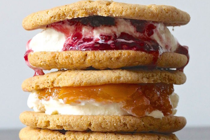 Almond Butter and Jam Ice Cream Cookie Sandwich