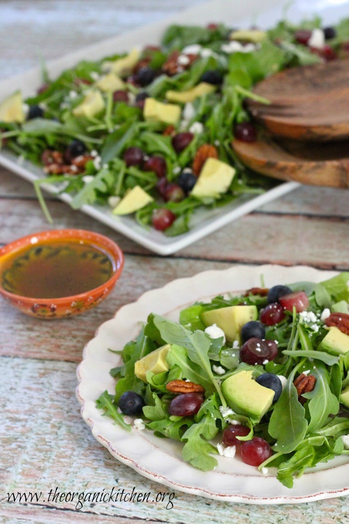 Blueberry and Avocado Salad on plate and platter