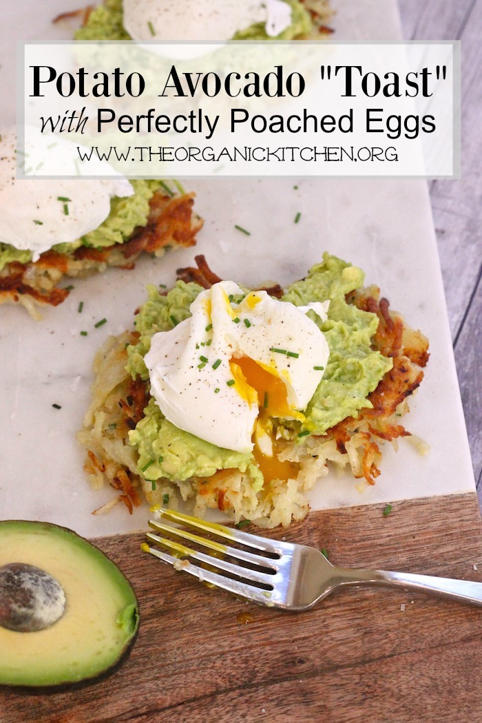 """A marble cutting board withPotato Avocado """"Toast"""" With Perfectly Poached Eggs!"""