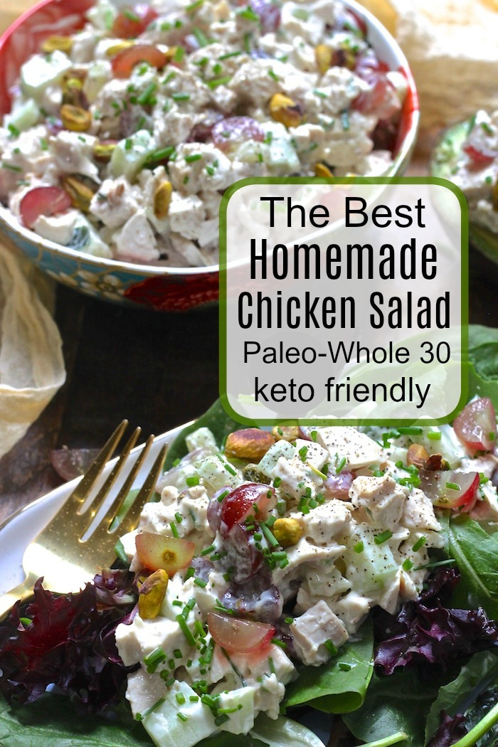 A plate and a bowl filled withThe Best Homemade Chicken Salad with a gold fork