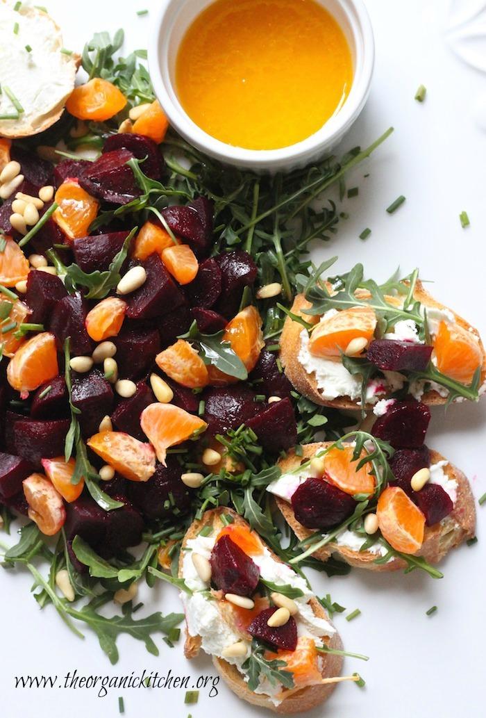 15 Minute Beet and Citrus Salad Crostini