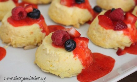 Lemon Vanilla Ricotta Cheesecake with Strawberry Coulis