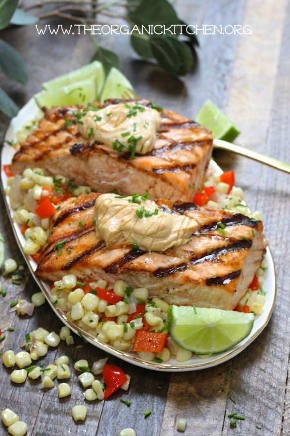 Salmon with Corn Hash and Chipotle Lime Mayo! #salmon #cornhash #chipotlelime #glutenfree #dairyfree
