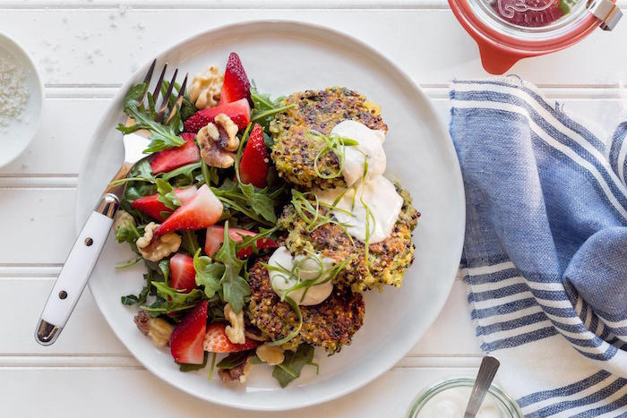 Quinoa Fritters with Strawberry and Arugula Salad