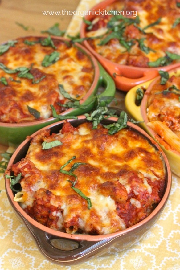 Easy Baked Penne with Italian Sausage #bakedpenne #glutenfree
