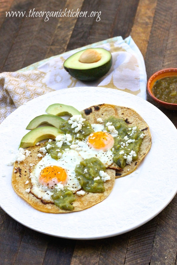 Fried Eggs and Tortillas with Salsa Verde and Queso Fresco