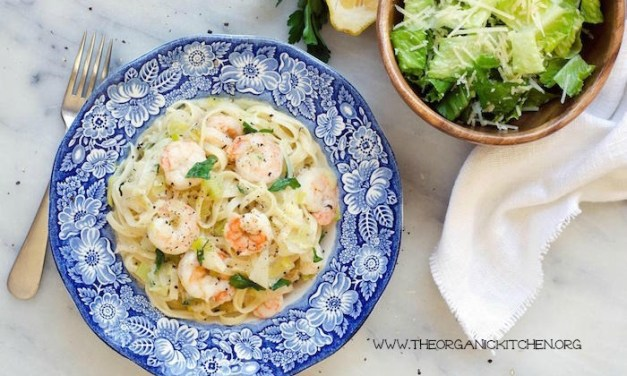 Shrimp Scampi with Romaine Salad