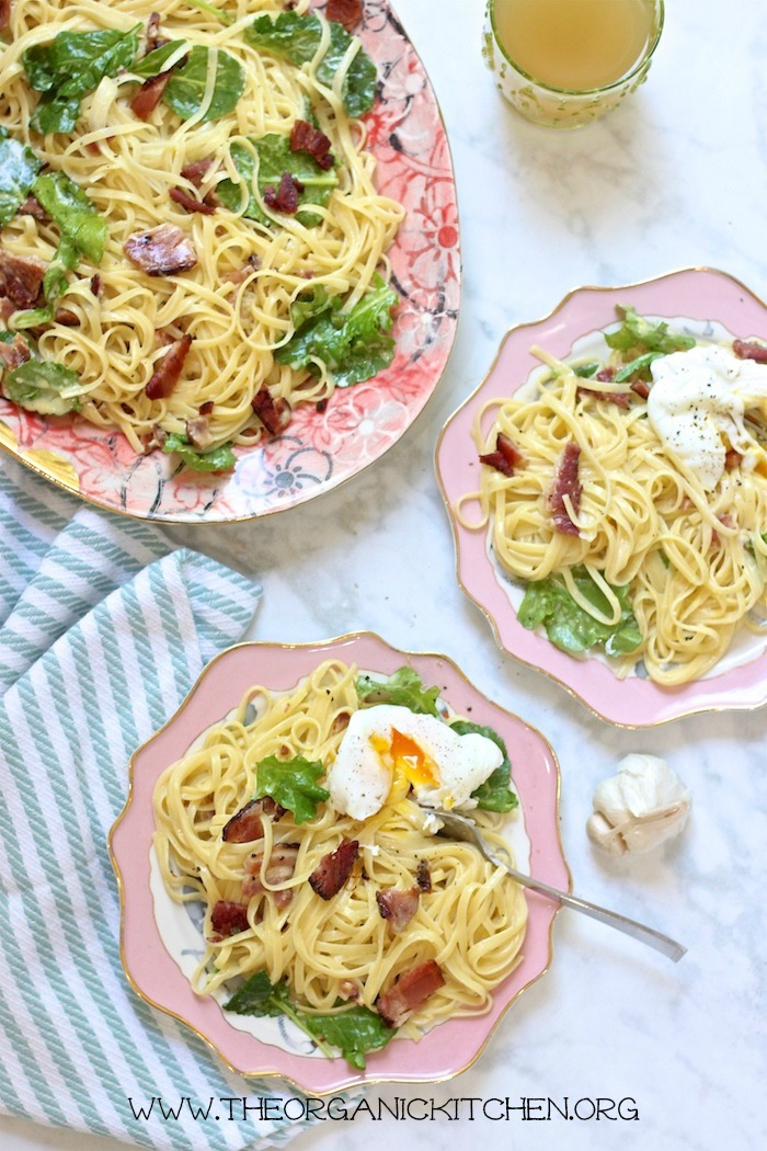 Pasta Carbonara with Baby Kale with Gluten Free Option #pastacarbonara #glutenfreepastacarbonara #pastacarbonarawtihbabykale
