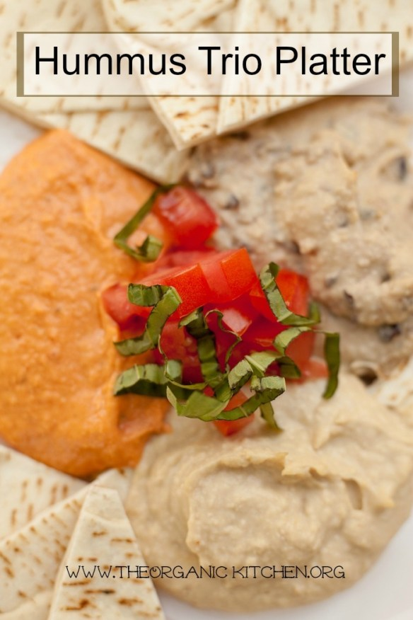 Hummus Trio Platter: Traditional, Black Bean and Roasted Red Bell Pepper