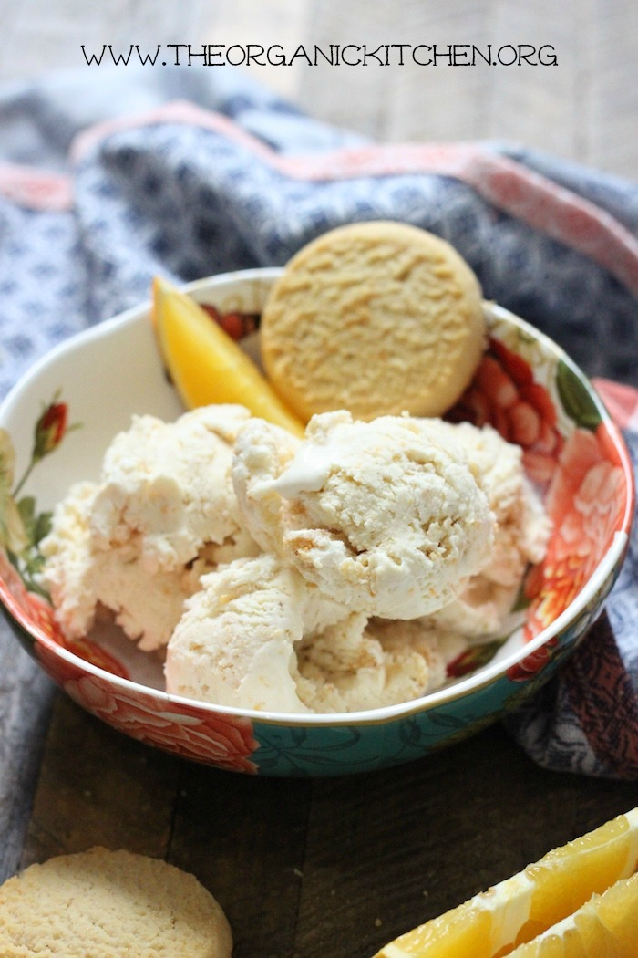 Orange-Shortbread Cookie 'No Churn' Ice Cream! -Gluten free