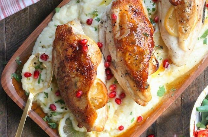 Paleo Roast Lemon Chicken with Maple Cauliflower Purée