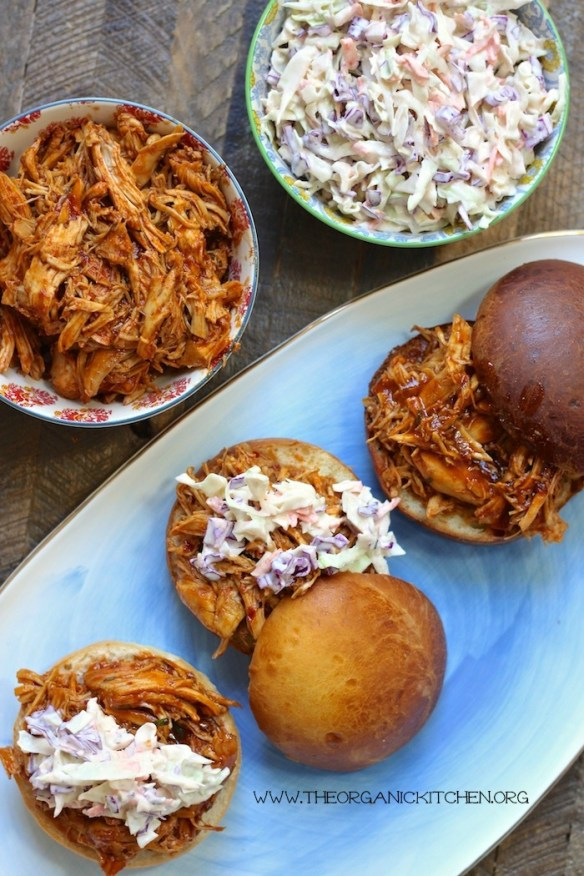 BBQ Pulled Chicken Sandwiches with Creamy Coleslaw!