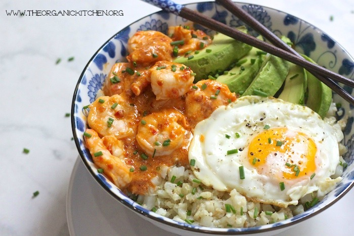 Spicy Shrimp and Cauliflower Rice Bowl (Paleo)