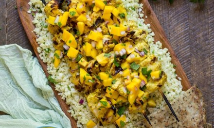 Tandoori Chicken Skewers with Mango Chutney and Cauliflower Rice (Paleo-Whole30)