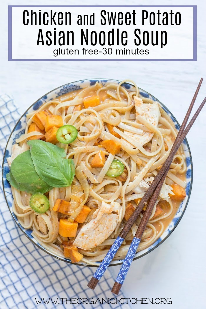 Chicken and Sweet Potato Asian Noodle Soup in blue bowl with chopsticks