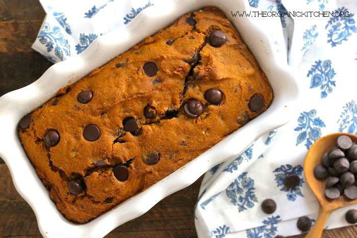 Chocolate Chip Pumpkin Pecan Bread (Gluten free option)